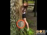 少女自拍,身旁的樹出現了一個男人頭...