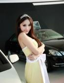 美女車模傅穎高雅黃裙盡顯媚态