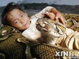 6歲男孩與一條6歲的蟒蛇交朋友