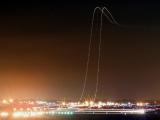 飛機起飛長時間曝光攝影